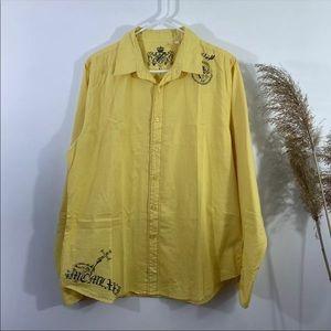 GUESS Men's Button Front Cotton Yellow Shirt Sz L
